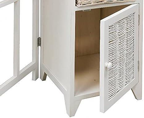 BUAR ARTESANOS Planchero DUERO Mueble para Planchar Mimbre y Madera Blanco (40/110x36x87 cm.): Amazon.es: Hogar