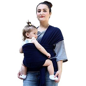 Dunkelblau elastisches tragetuch f/ür neugeborene Kleinkinder inkl Baby Wrap Babytragetuch bauchtrage