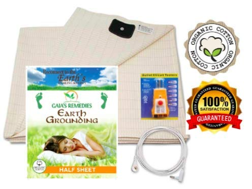 Earthing Half Sheet Queen with Grounding Cord & OUTLET TESTER - Organic cotton • Anti Microbial - EMF Protection & Anti-Radiation Shield for Better Sleep, Reduce Pain & Inflammation – -