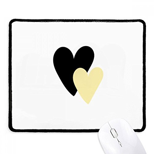 Double Heart Quote Handwrite Mousepad Black Stitched Edge Mat Non Slip Game