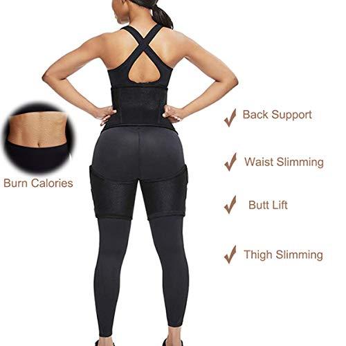 Waist Trainer for Women Thigh Trimmer Butt Lifter Workout Slimming Belt Black