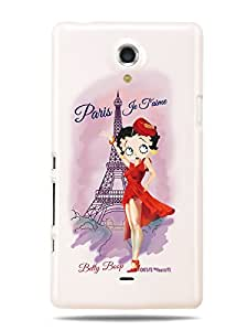 GRÜV Premium Case - 'Paris Je T'aime by Betty Boop' Design - Best Quality Designer Print on White Hard Cover - for Sony Xperia T TL LT30P LT30i LT30AT LT30a