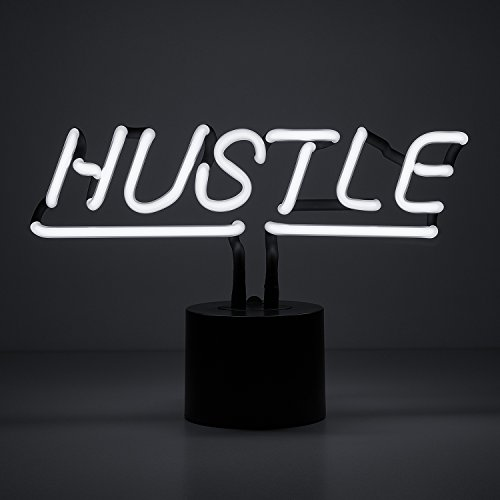 Amped & Co - Hustle Neon Sign, Desk Light with DC Adapter, White Real Neon, 12x8