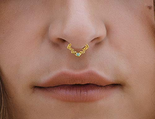 Sagia Kalisky Gold Septum Earring 24k Gold Plated Over Silver Piercing Jewelry W Opal Lotus Boho Rook Hoop Daith Helix Tragus Cartilage Tribal Indian Handmade Seamless Ring For Pierced Ear Or Nose 18g