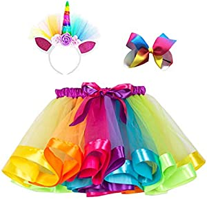 Giveaway: Layered Rainbow Tutu Skirts with Unicorn Horn Headband Outfits...