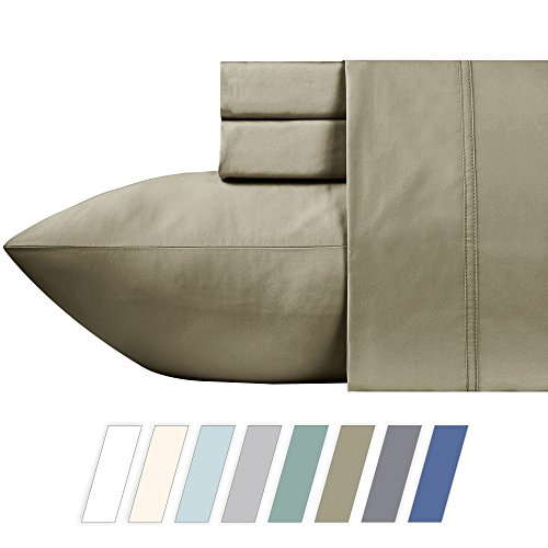 600 Thread Count Best 100% Cotton Sheets – Taupe Long-stap