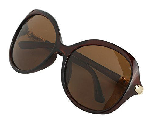 Oversized Polarized Shades Butterfly Brown Sunglasses For - Glasses Cute Round