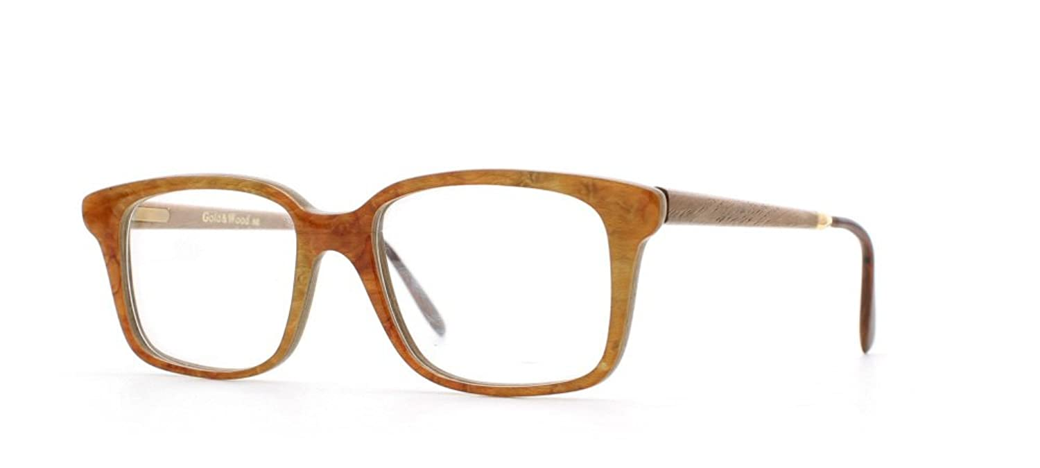5695e13ca765 Gold & Wood 1.711 56 Orange Rectangular Certified Vintage Eyeglasses Frame  For Mens and Womens: Amazon.co.uk: Clothing