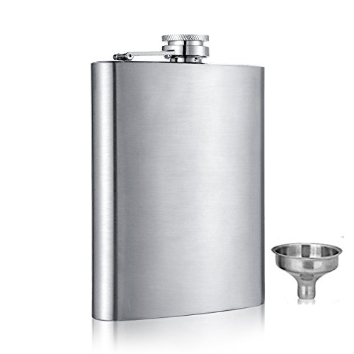 le Stainless Steel Liquor Whiskey Hip Flask Silver 6 oz (6 Ounce Liquor Flask)