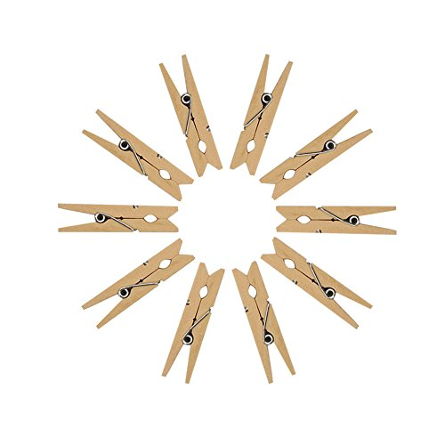 Tenn Well 100PCS Clothes Pins, 2.83 Inches Heavy Duty Natural Wooden Spring Clothespins for Laundry, Craft Projects, Decoration and (Clothespin Place Card Holders)