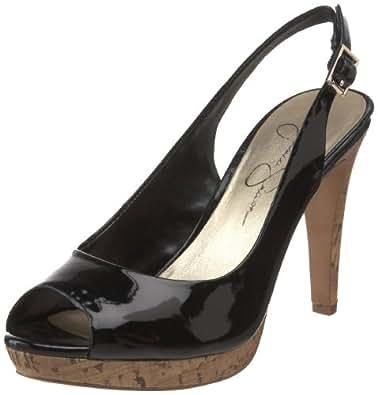 Jessica Simpson Women's Achillea High Heel Open-Toe Sling,Black Patent Cork,8 M US