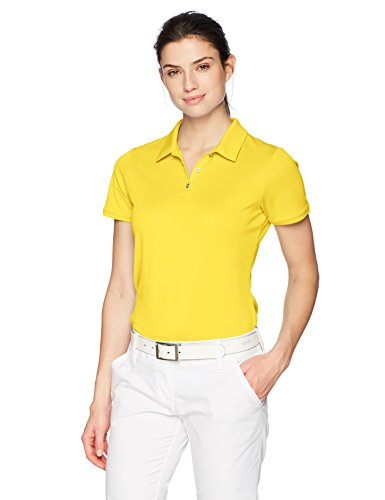(adidas Golf Tournament Short Sleeve Polo, Bright Yellow, Medium)