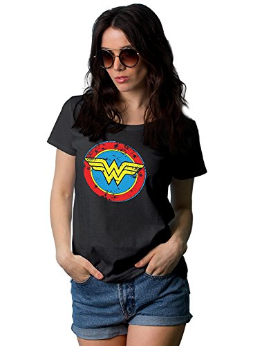 Decrum Black Wonder Graphic Tees for Women | Distressed Logo, -