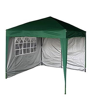 Mcc® Gazebo plegable impermeable del gazebo 2x2m, tienda del pabellón con la capa protectora de plata incluye paredes laterales [WS] (color Verde): ...