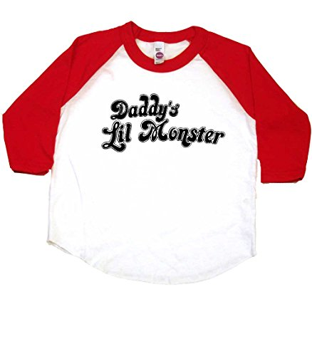 Daddy's Lil Monster Funny Toddler Baseball Shirt, 4T, White/Red (Lil John Shirt compare prices)