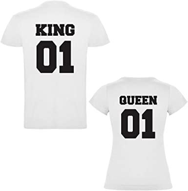 Pack de 2 Camisetas Blancas para Parejas, King 01 Bold y Queen 01 ...