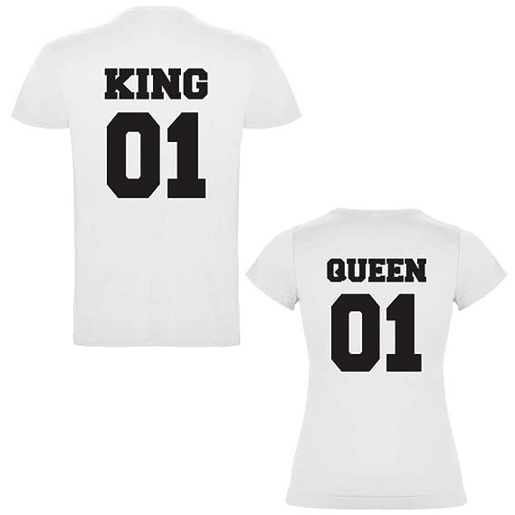 Pack de 2 Camisetas Blancas para Parejas, King 01 Bold y Queen 01 Bold, Negro: Amazon.es: Ropa y accesorios