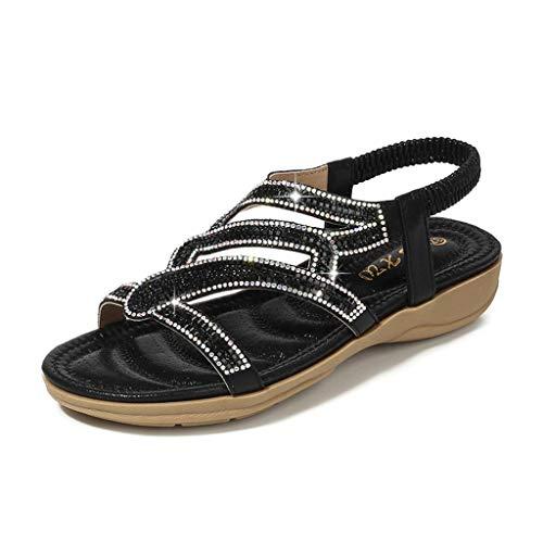 Toimothcn Bohemia Crystal Flat Sandals Women Casual Elastic Strap Peep Toe Shoes Beach Sandals (Black2,US:7)