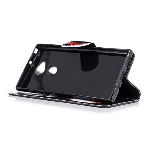 Funda para Sony Xperia XA2 Ultra , IJIA Perro Adorable (Kiss My ASS) TPU + PU Ranuras para Tarjetas de Crédito Flip Folio Caja [Estilo Libro,Soporte Plegable ] Cover Tapa Caso Parachoques Carcasa Cubi