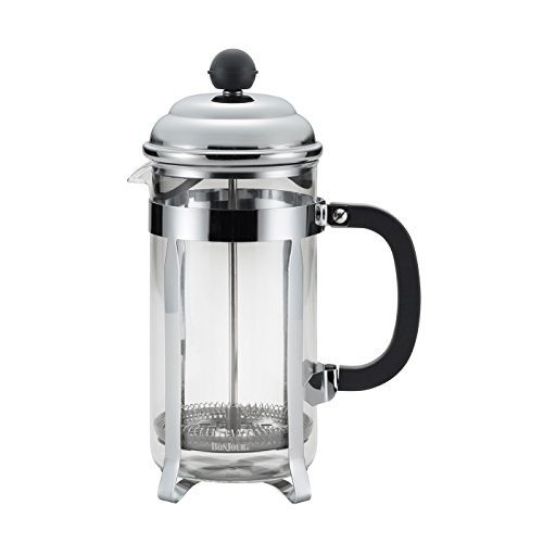 BonJour Coffee Stainless Steel French Press with Glass Carafe, 33.8-Ounce, Bijoux, Black Handle ()