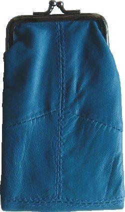 (Blue Lamb Skin Leather Cigarette Case with Zipper Pocket and Ligter Case)