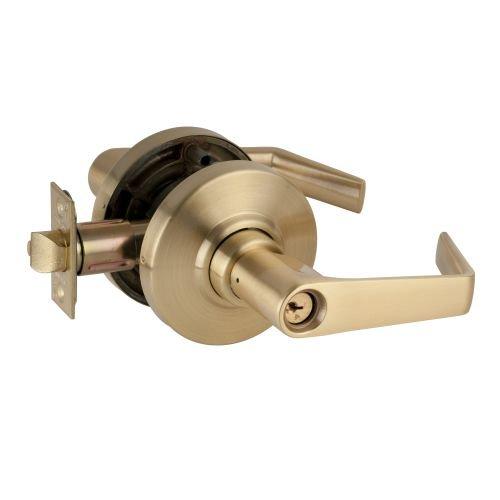 Schlage AL53PD-SAT Saturn Keyed Entrance/Office Door Lever Set, Satin Brass