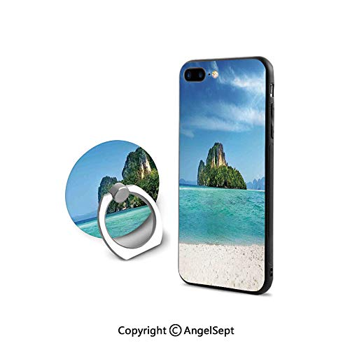 Protective Case Compatible iPhone 7/8 with 360°Degree Swivel Ring,Poda Island in Thailand Lagoon Limestone Sunshine Surfing Coastline Touristic,for Girls,Turquoise Blue