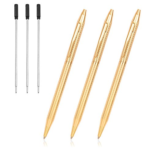 Ballpoint Pens, Cambond Gold Pen Stainless Steel Pens for Guest Book Uniform Gift - Black Ink (1.0mm Medium Point), 3 Pens with 3 Extra Refills (Gold) - CP0103