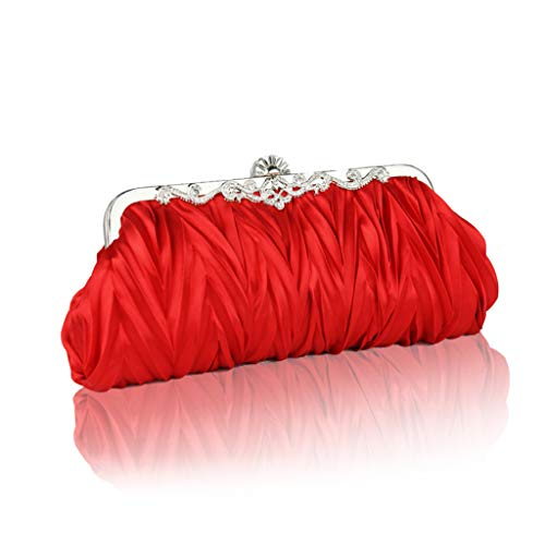 Cocktail Superw Handbags Party Strap Detachable Bag Pleated Red Evening Wedding Satin Womens Chain with Handbag Clutch 67qr6vO