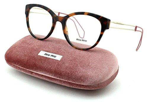 Miu Miu 03PV Women Round Eyeglasses (Dark Havana Frame USM/1O1, - Eyeglass Miu Frames