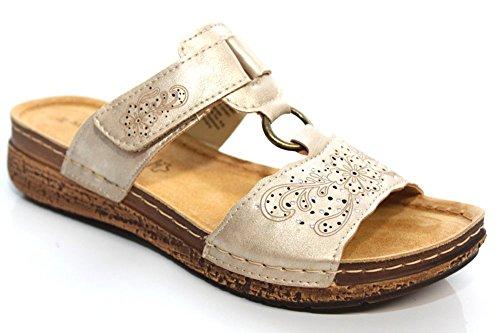 Marco Tozzi Revive Mujer Verano Casual sandalias de tacón Dorado Talla UK 3–9 dorado