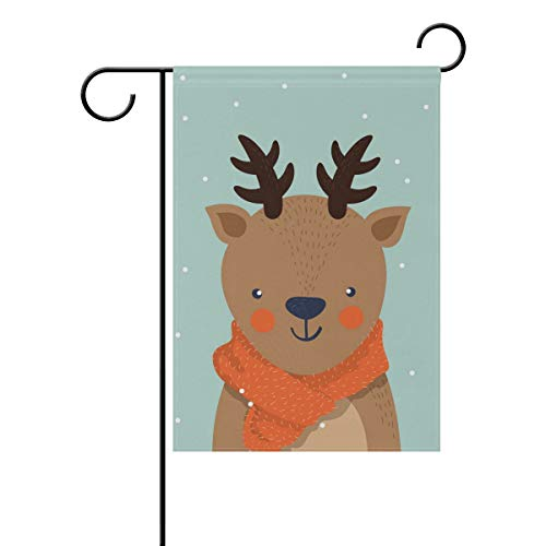 Chic Houses Simple Style Q Version Cartoon Cute Deer Animal Pattern Outdoor Garden Flags Personality Design Vertical Double Sided Home Decorative House Yard Sign 12 x 18 Inch 2030379