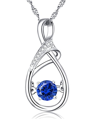 in My Heart Necklace September Birthstone Fine Jewelry Gifts for Wife Birthday Gifts for Women Her Blue Sapphire Love Charm Anniversary Infinity Pendant Sterling Silver Swarovski ()