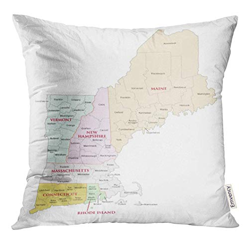 TOGEFRIEND Throw Pillow Cover Northeast New England States