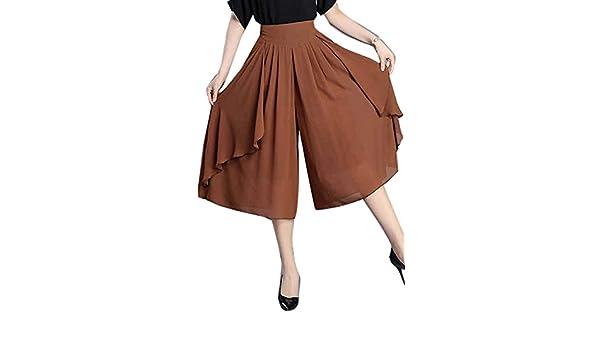 Mujer Pantalones Falda Fashion Ocasional Anchas Pantalon Anchos Elegantes  Fiesta Estilo Vintage Unicolor Cintura Alta Aireado Chiffon Pantalones  Palazzo ... d25563ca2196
