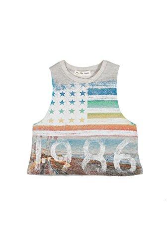 The Classic Brand Big Girls 7-16 Vintage American Flag Print Tank Top Grey 12
