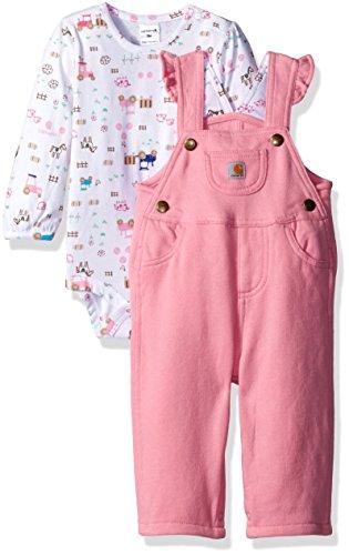 Carhartt Girls' Little Farmer 3 Piece Gift Set, Raspberry Rose, 24 Months