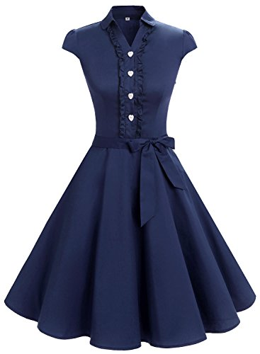 Wedtrend Women's 1950s Cap Sleeve Swing Vintage Dress Rockabilly Party Cocktail Dress WTP10007NavyM - 1950 Outfit