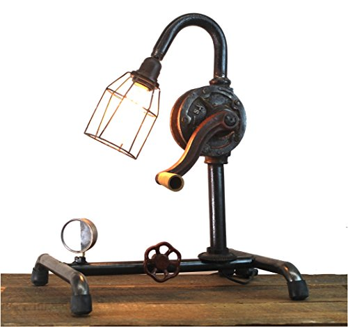 Steampunk Industrial Factory Style Crank Table Lamp w/Real Parts