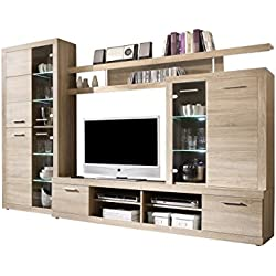 MEBLE FURNITURE & RUGS Cancun Wall Unit Modern Entertainment Center TV Stand, Oak