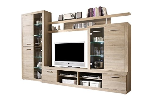 Large Entertainment Unit (Cancun Wall Unit Modern Entertainment Center TV Stand, Oak)
