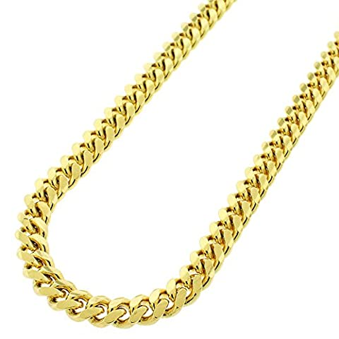 Sterling Silver 7mm Miami Cuban Curb Link Thick Solid 925 Yellow Gold Plated Chain Necklace 24 - 32