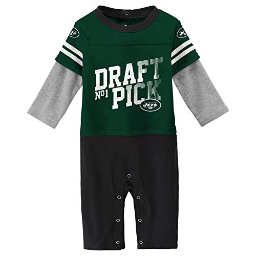 NFL New York Jets Newborn & Infant Draft Pick Long Sleeve Coverall Hunter Green, 3-6 Months