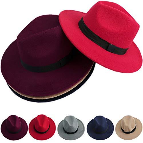 Fashion Jazz Bowknot Hard Felt Fedora Bowler Panama Wide Hat Brim Gangster Cap Men Women Wine -