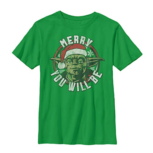 Star Wars Boys' Christmas Yoda Merry You Will Be Kelly Green T-Shirt