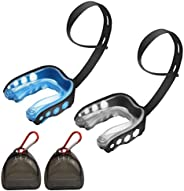 2 Pack Football Mouth Guard, Professional Adults Sports Mouthguard, Soft Mouthpiece to Protect Braces with Str