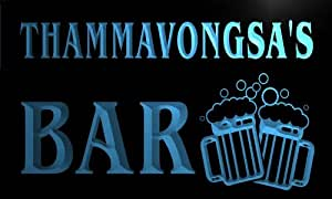 w032817-b THAMMAVONGSA Name Home Bar Pub Beer Mugs Cheers Neon Light Sign