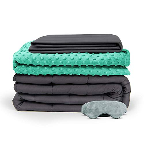 Cheap BUZIO Weighted Blanket 4 Piece Set with 2 Removable Duvet Covers & 1 Weighted Sleep Mask Heavy Blanket for Hot & Cold Sleepers - Kids or Adults (60 x 80 inches - 15 lbs Aqua Blue) Black Friday & Cyber Monday 2019