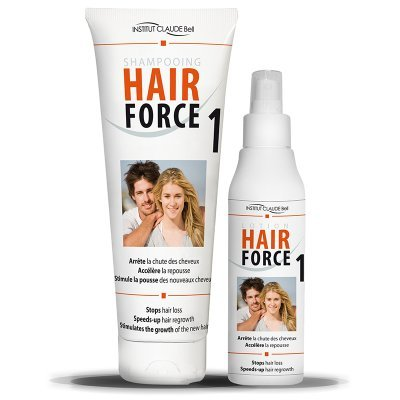 Claude Bell Hair Force One Kit 150 ml Lotion + 250 ml Shampoo Anti Hair Loss Promotes Regrowth Institut Claude Bell