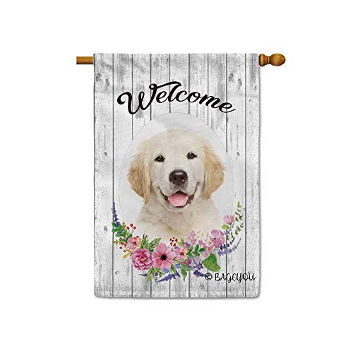 BAGEYOU Welcome Spring Summer Flowers Cute Dog Golden Retriever Decorative House Flag Lovely Puppy Floral Seasonal Home Decor Banner for Ourside 28X40 Inch Print Double Sided